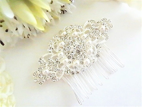 Pearl and Rhinestone Crystal Bridal Hair Comb HRACC8002