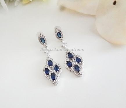 Blue Sapphire Marquise Cubic Zirconia Bridal Drop Earrings