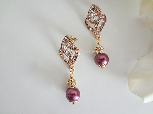 Swarovski Pearl and Gold Crystal Wedding Earrings