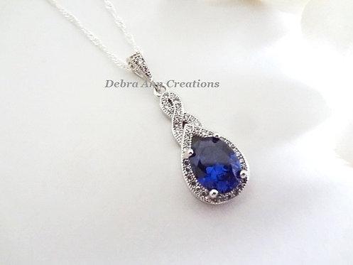 Sapphire Cubic Zirconia Teardrop Pendant Wedding Necklace BRNK6009