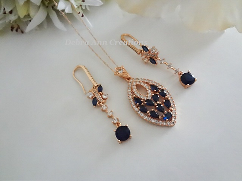 Sapphire Cubic Zirconia Necklace and Earring Set BRNKST5020