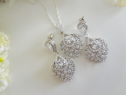 Cubic Zirconia Crystal Wedding Jewelry Set BRNKST5017
