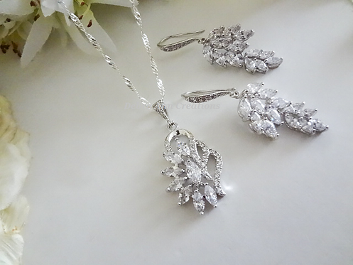 Cubic Zirconia Marquise Cluster Teardrop Wedding Necklace and Earrings Set