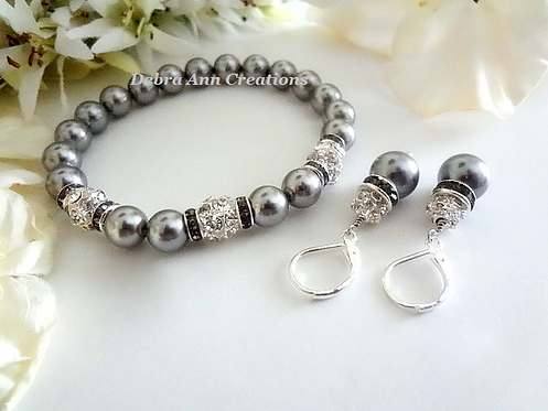 Grey Pearl and Crystal Bridal Bracelet Set BRSTPL2004