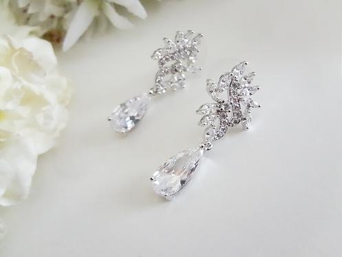 Cubic Zirconia Marquise Teardrop Bridal Earrings BRER4038