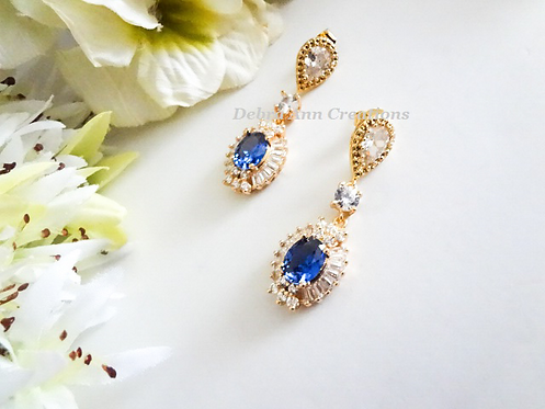 Oval Sapphire and Clear Baguette Cubic Zirconia Gold Drop Wedding Earrings