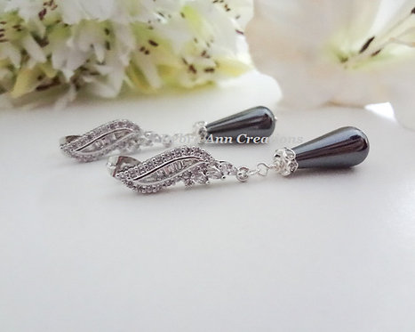 Charcoal Grey Genuine Hematite Teardrop and Cubic Zirconia Formal Earrings
