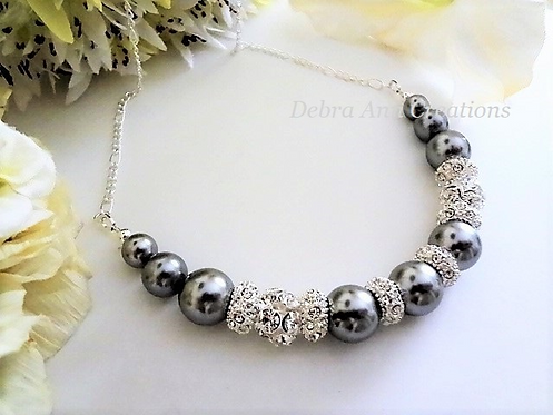 Swarovski Pearl and Crystal Pave Collar Bridal Necklace