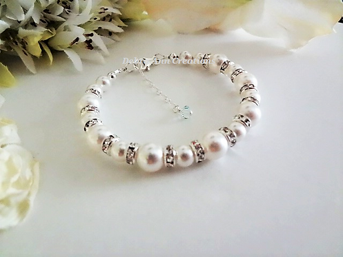 Pearl and Crystal Clasp Bridal Bracelet BRPL3014