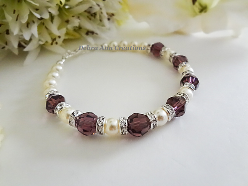 Pearl and Amethyst Crystal Clasp Birthstone Bracelet BRTHBR1006