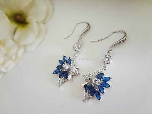 Blue Sapphire Marquise Cubic Zirconia Wedding Drop Earrings