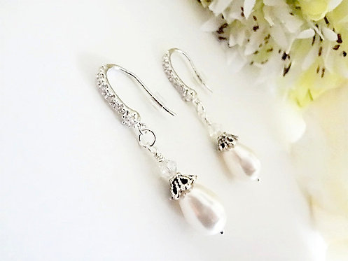 Pearl Teardrop and Crystal Bridal Earrings BRER4007