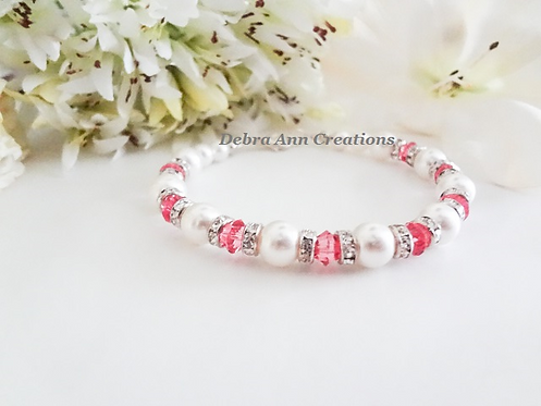 Pearl and Rose Crystal Clasp Bracelet BRTHBR1012