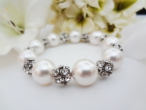 Swarovski Pearl and Antique Silver Pave Crystal Wedding Bracelet