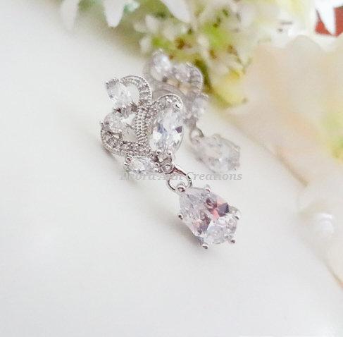 Cubic Zirconia Marquise Drop Wedding Earrings BRER4039