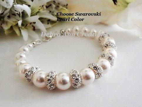 Swarovski Pearl and Pave Crystal Wedding Bracelet