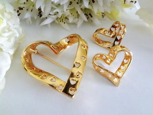 Vintage Avon Gold Heart Brooch and Earrings Set