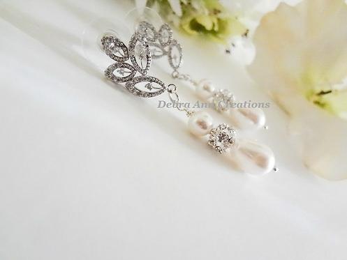 Swarovski Pearl and Crystal TearDrop Wedding Earrings