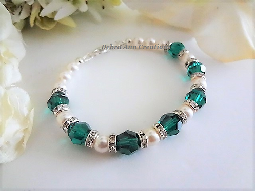 Swarovski Pearl and Emerald Crystal Clasp Bridal Bracelet