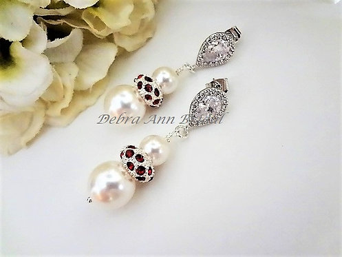 Swarovski Pearl and Red Crystal Pave Drop Wedding Earrings