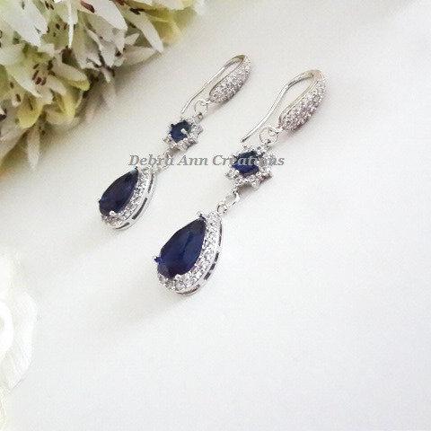 Sapphire Cubic Zirconia Teardrop Micro Pave Wedding Earrings