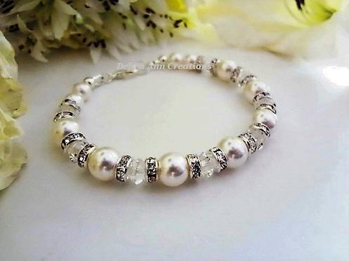 Pearl and Diamond Crystal Clasp Birthstone Bracelet BRTHBR1002