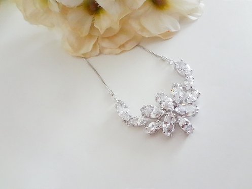 Cubic Zirconia Marquise Cluster Half Collar Wedding Necklace
