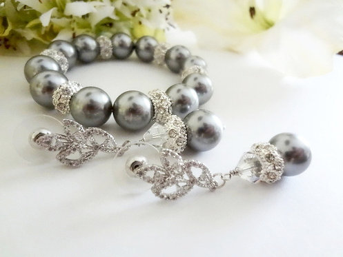 Swarovski Grey Pearl and Crystal Bridal Bracelet and Earrings Set