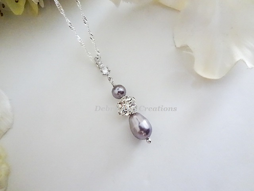 Pearl and Crystal Teardrop Pendant Wedding Necklace BRNK6003