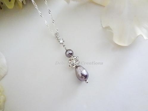 Swarovski Pearl and Crystal Teardrop Pendant Wedding Necklace