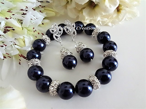 Navy Blue Pearl and Crystal Bridal Bracelet Set BRSTPL2008