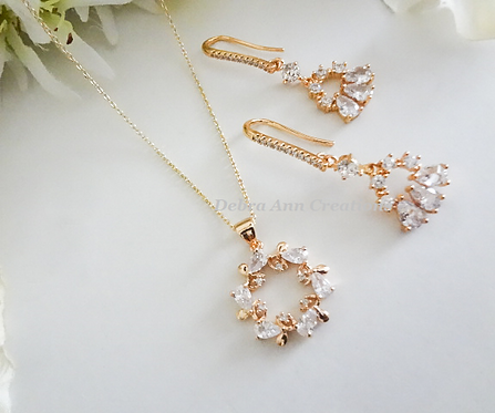 Cubic Zirconia Bridal Necklace and Earrings Set BRNKST5013