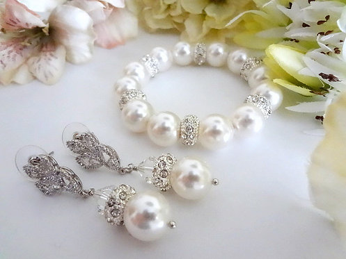 Swarovski Pearl and Crystal Pave Bridal Bracelet and Earrings Set