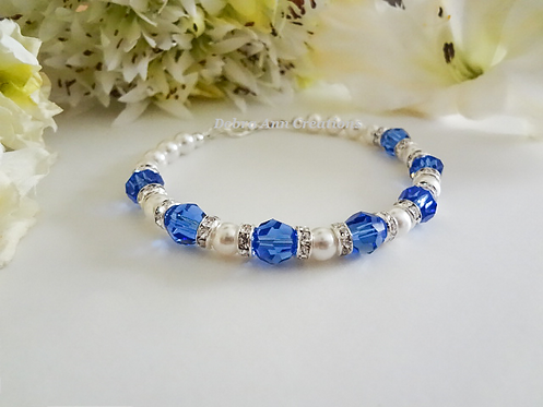 Pearl and Sapphire Crystal Clasp Wedding Bracelet BRPL3018