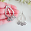 Thumbnail: Silver Hammered Open Teardrop Dangle Bar Earrings FSER7004