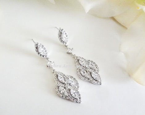 Marquise Cubic Zirconia Bridal Drop Earrings BRER4032