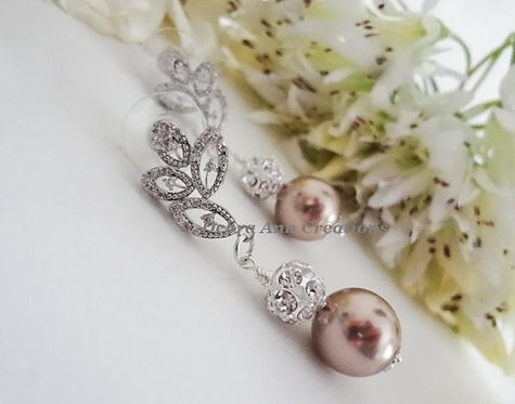 Pearl and Cubic Zirconia Crystal Wedding Earrings BRER4036