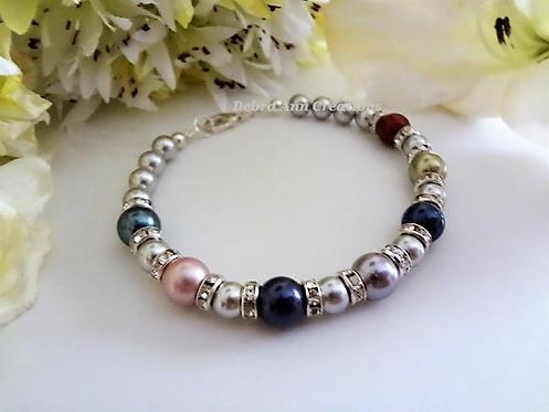 Light Grey Pearl Family Birthstone Clasp Bracelet MBR9005