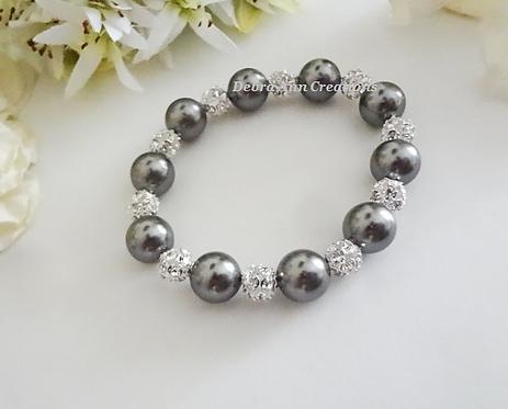 Swarovski Pearl and Round Pave Crystal Wedding Bracelet