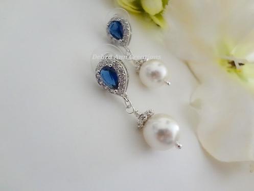 Pearl and Sapphire Teardrop Dangle Earrings BRER4044