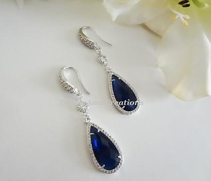 Sapphire Cubic Zirconia Long Teardrop Micro Pave Bridal Earrings
