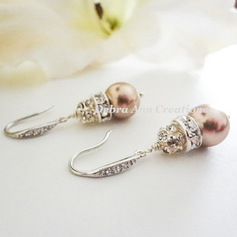 Swarovski Pearl and Crystal Pave Drop Wedding Earrings