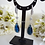 Thumbnail: Sapphire Cubic Zirconia Long Teardrop Pendant Bridal Necklace and Earrings Set