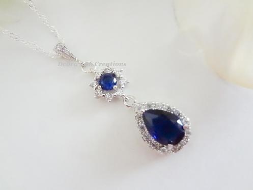 Sapphire Cubic Zirconia Teardrop Pendant Necklace BRNK6013