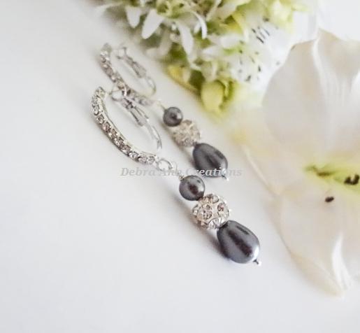 Teardrop Pearl and Crystal Hoop Bridal Earrings BRER4030