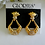 Thumbnail: Crystal Rhinestone Pave Gold Doorknocker Vintage Earrings