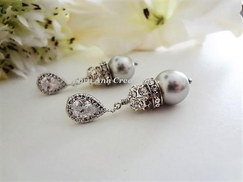 Swarovski Pearl and Crystal Pave Drop Wedding Earrings
