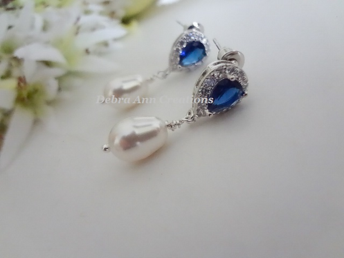 Sapphire and Pearl Teardrop Wedding Earrings BRER4048