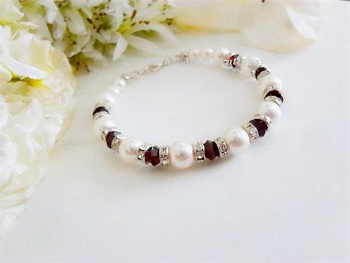 Swarovski Garnet Crystal and Pearl Bracelet