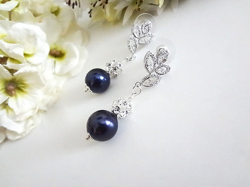 Navy Blue Pearl and Crystal Pave Formal Drop Earrings BRER4009